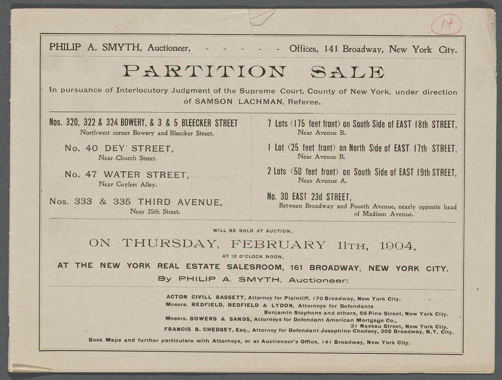 Partition Sale in pursuance of Interlocutory Judgment of the Supreme Court, County of New York, under direction of Samson Lachman Referee