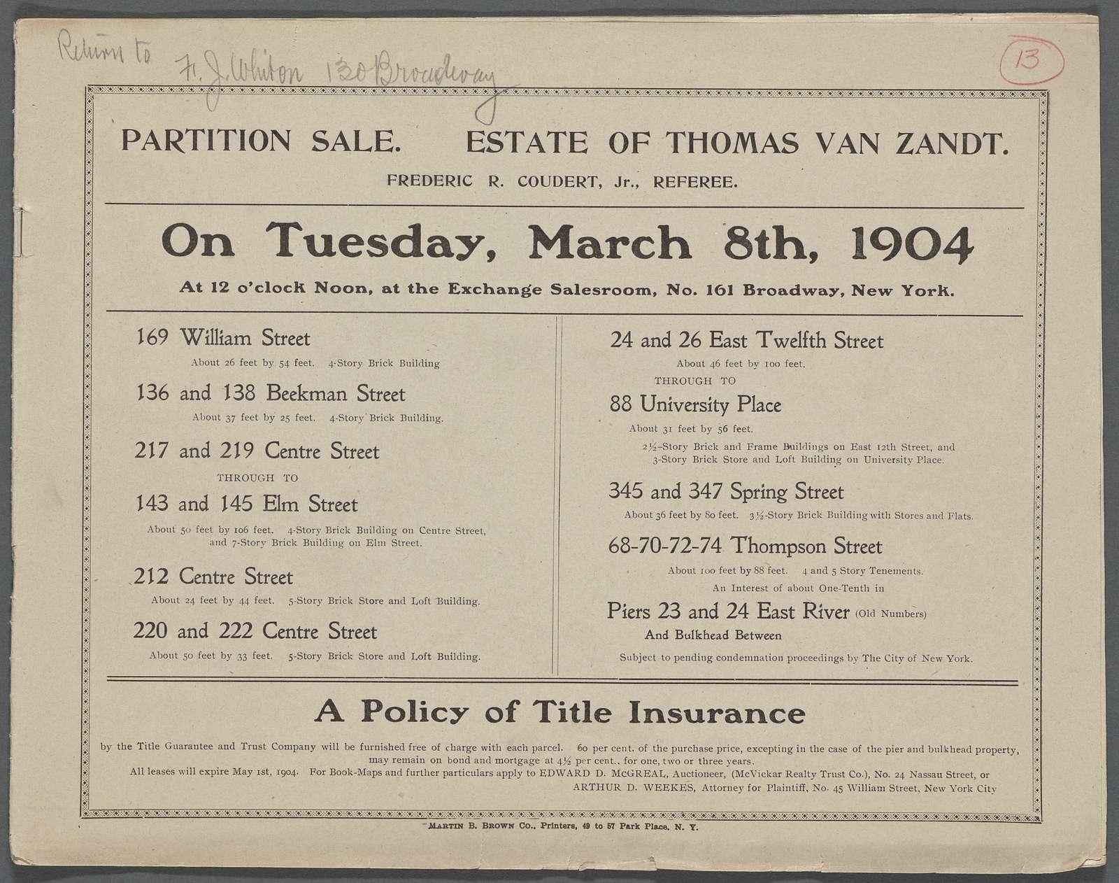 Partition Sale: Estate of Thomas Van Zandt, Frederic R. Coudert, Jr., Referee