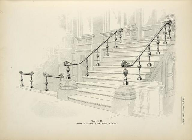 Bronze stoop and area railing. [Plate 398-N].