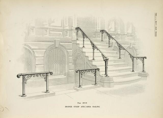 Bronze stoop and area railing. [Plate 399-N].
