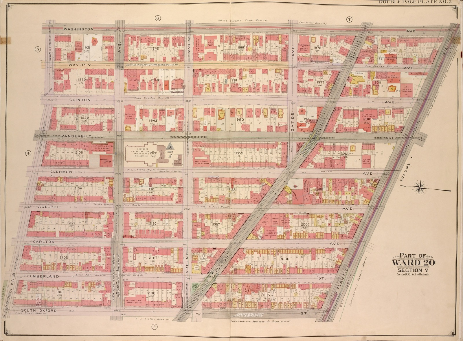 Brooklyn, Vol. 2, Double Page Plate No. 3; Part of Ward 20, Section 7; [Map bounded by Washington Ave., Atlantic Ave.; Including  South Oxford St., De Kalb Ave.]