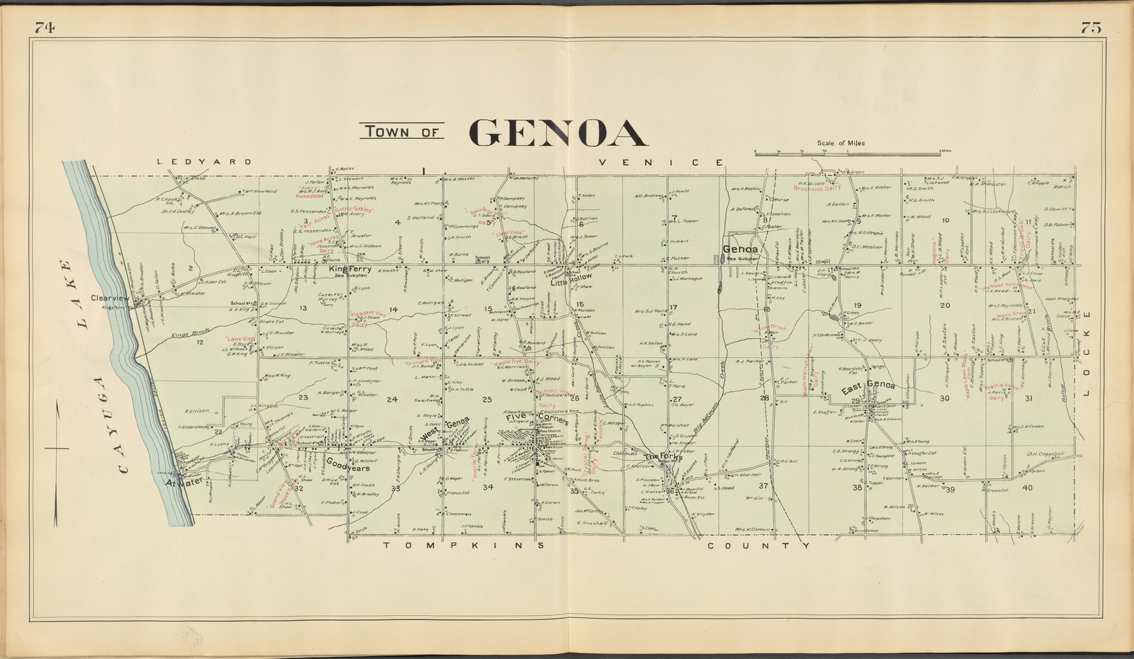 Cayuga County, Left Page [Map of town of Genoa]