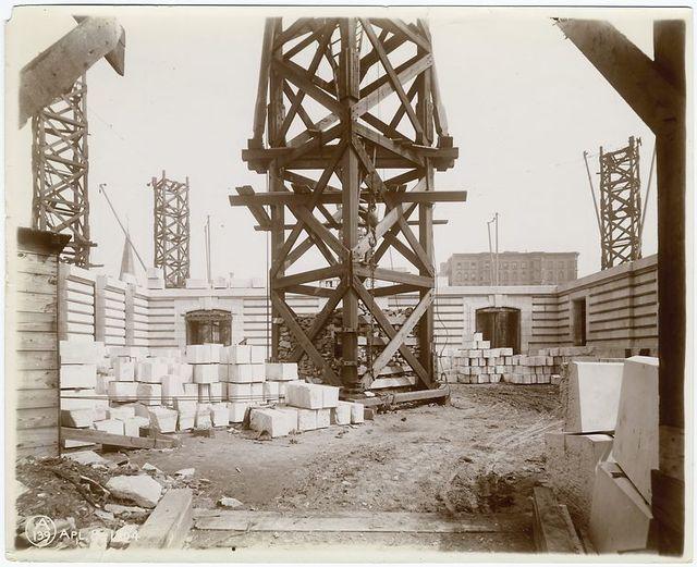 Interior work : construction of walls, looking north.