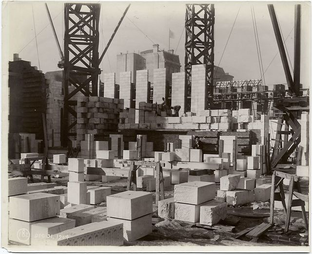 Interior work : construction of walls, looking southwest.