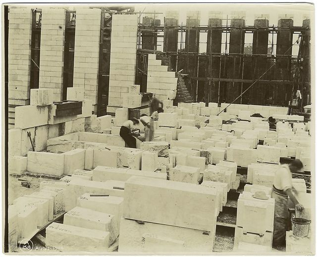 Interior work : marble blocks, and construction of west wall.