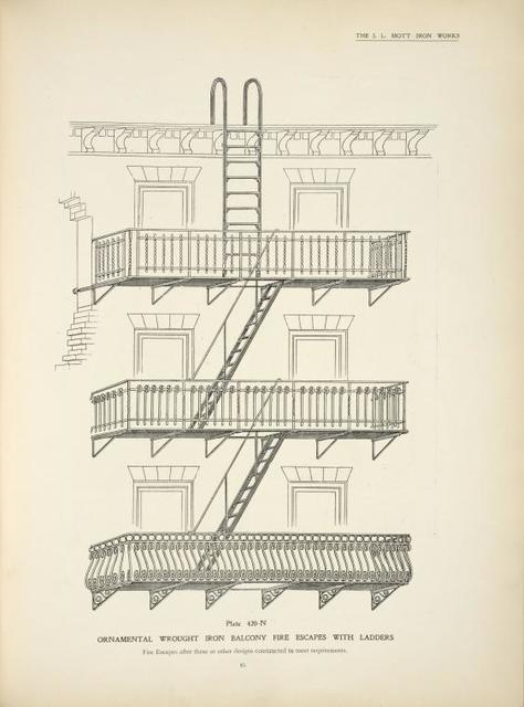 Ornamental wrought iron balcony fire escapes with ladders. Plate 420-N.