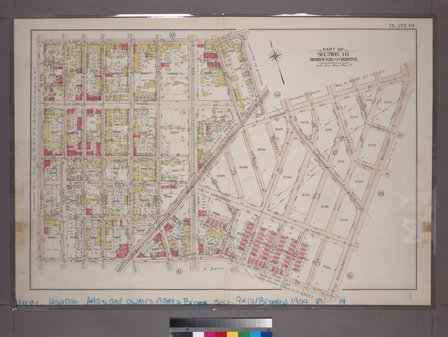 Plate 14: Part of Section 10, Borough of the Bronx. [Bounded by  E. 165th Street, Rogers Place, Dongan Street, Southern Boulevard, E. 156th Street and Cauldwell Avenue.]