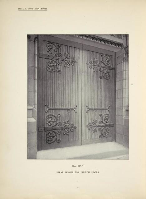 Strap hinges for church doors. Plate 439-N.