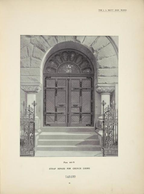 Strap hinges for church doors. Plate 440-N.