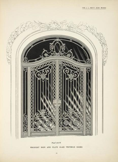 Wrought iron and plate glass vestibule doors. Plate 418-N.