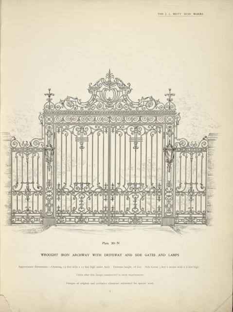 Wrought iron archway with driveway and side gates and lamps [Plate 301-N].