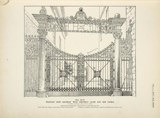 Wrought iron archway withdriveway gates and side panels. [Plate 323-N].