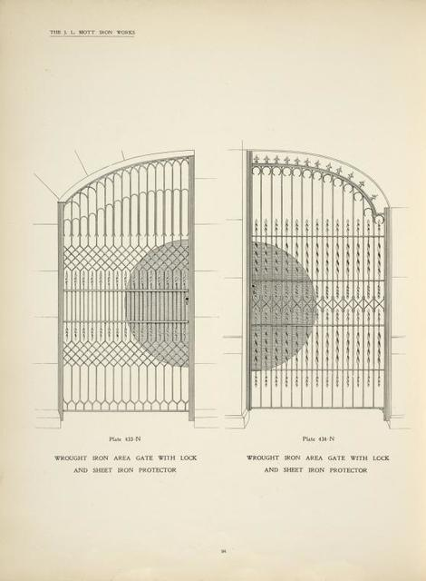 Wrought iron area gate with lock and sheet iron protector. Plates 433-N and 434-N.
