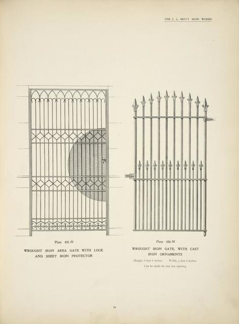 Wrought iron area gate with lock and sheet iron protector. Plates 435-N and 436-N.