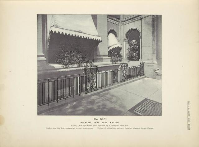 Wrought iron area railing. [Plate 317-N].