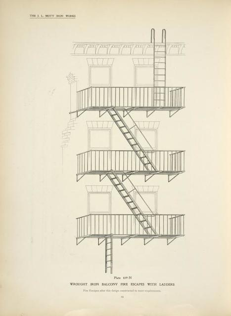 Wrought iron balcony fire escapes with ladders. Plate 419-N.