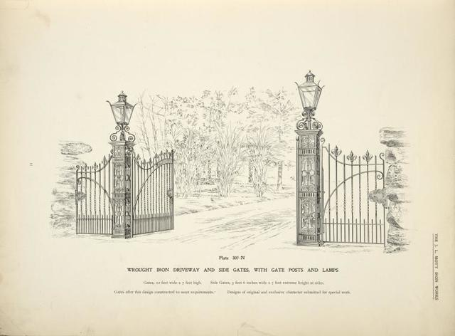 Wrought iron driveway and side gates, with gate posts and lamps. [Plate 307-N].