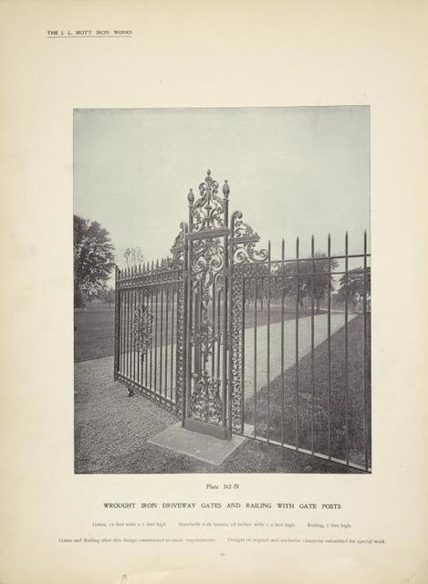 Wrought iron driveway gates and railing with gate posts. [Plate 312].