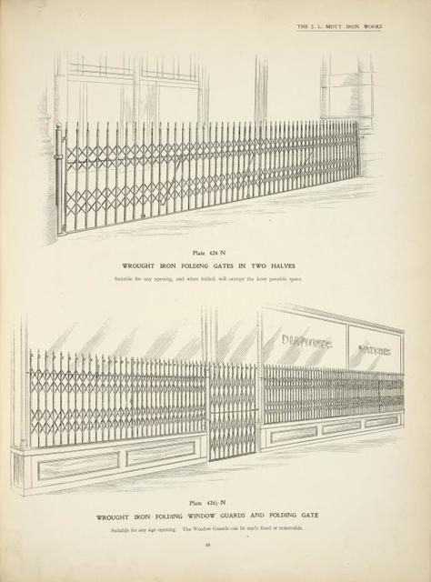 Wrought iron folding gates in two halves. Plate 424-N. ; Wrought iron folding window guards and folding gate. Plate 424 1/2-N.