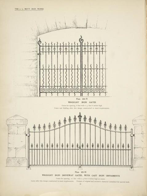 Wrought iron gates. [Plate 324-N] ; Wrought iron driveway gates, with cast iron ornaments. [Plate 325-N].