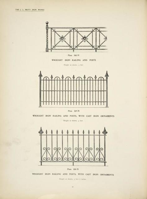 Wrought iron railing and posts. [Plate 348-N] ; Wrought iron railing and posts, with cast iron ornaments. [Plates 349-N and 350-N].