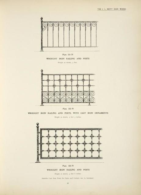 Wrought iron railing and posts. [Plates 351-N and 353-N] ; Wrought iron railing and and posts, with cast iron ornaments. [Plate 352-N].