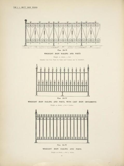 Wrought iron railing and posts. [Plates 354-N and 356-N] ; Wrought iron railing and and posts, with cast iron ornaments. [Plate 355-N].