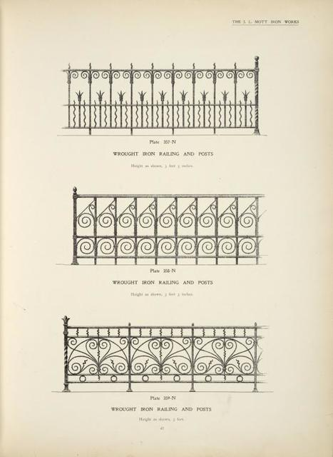 Wrought iron railing and posts. [Plates 357-N, 358-N and 359-N].