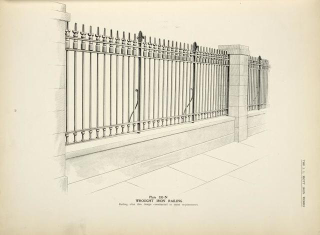 Wrought iron railing. [Plate 335].