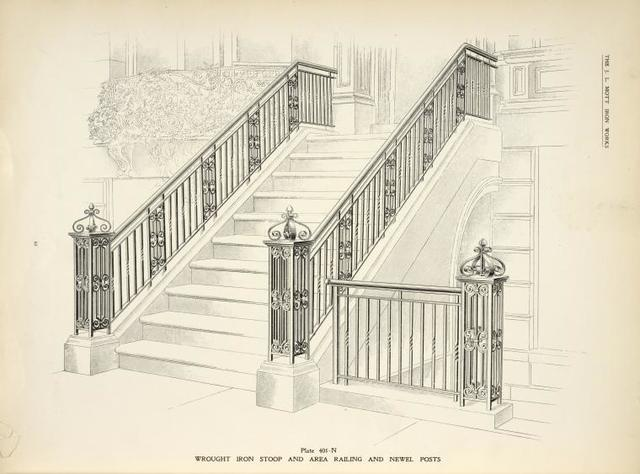 Wrought iron stoop and area railing and newel posts. [Plate 401-N].