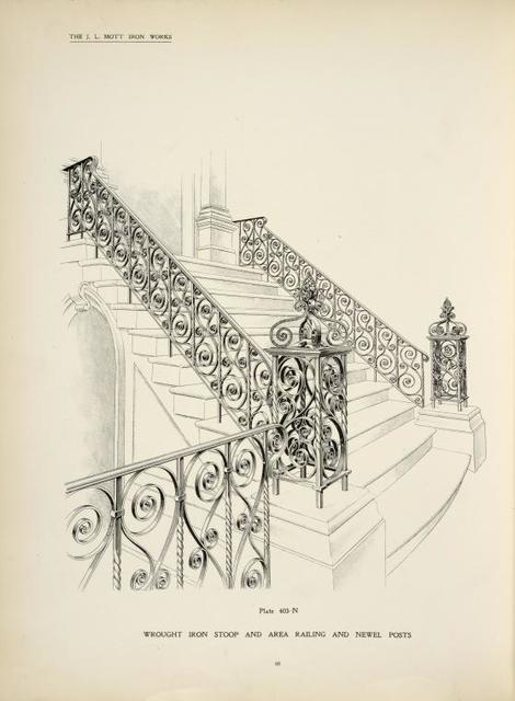 Wrought iron stoop and area railing and newel posts. [Plate 403-N].