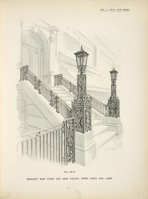 Wrought iron stoop and area railing, newel posts and lamps. [Plate 404-N].