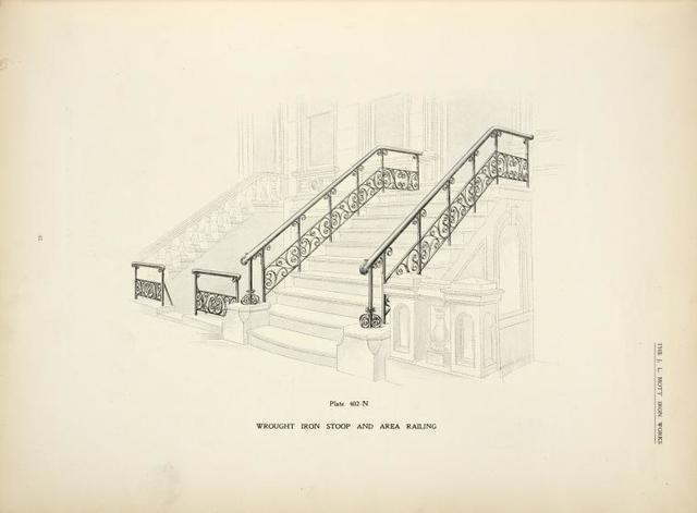 Wrought iron stoop and area railing. [Plate 402-N].