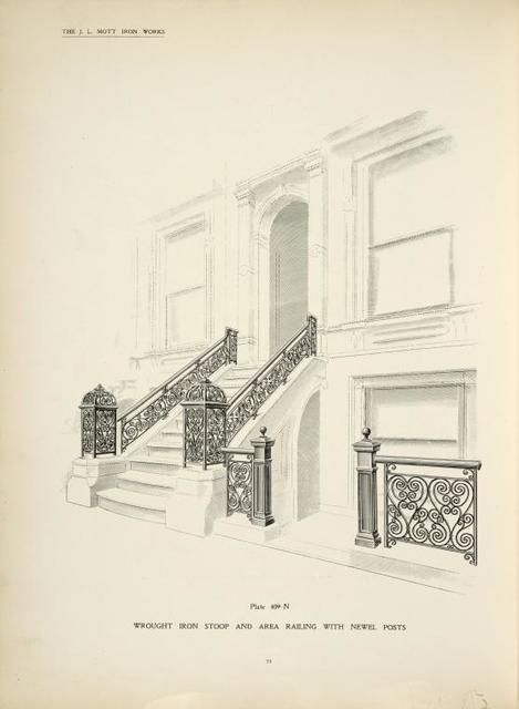 Wrought iron stoop and area railing withnewel posts. [Plate 409-N].