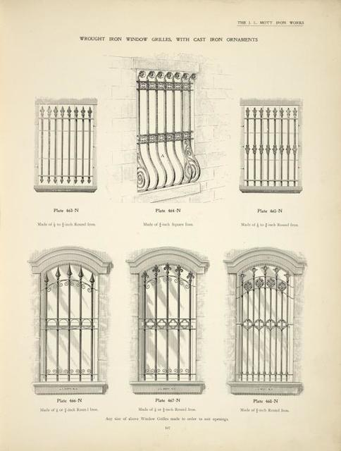 Wrought iron window grilles. with cast iron ornaments. Plates 463-N, 464-N, 465-N, 466-N, 467-N and 468-N.