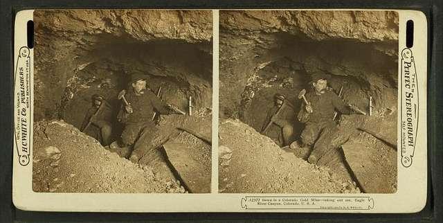 Down in Colorado gold mine: taking out ore, Eagle River Canyon, Colorado, U.S.A.