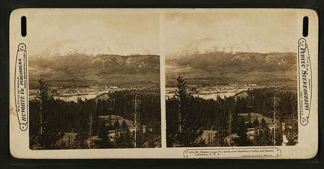 Mt. Shasta (14440 ft.) north over Strawberry Valley and Sisson, California, U. S. A..