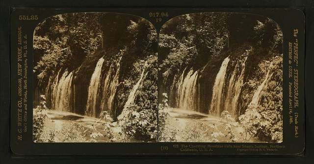 The charming Mossbrae Falls near Shasta Springs, northern California, U. S. A..