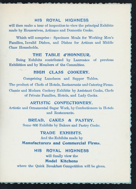 16TH UNIVERSAL EXHIBITION [held by] COOKERY AND FOOD EXHIBITION [at] ENGLAND (FOR;)