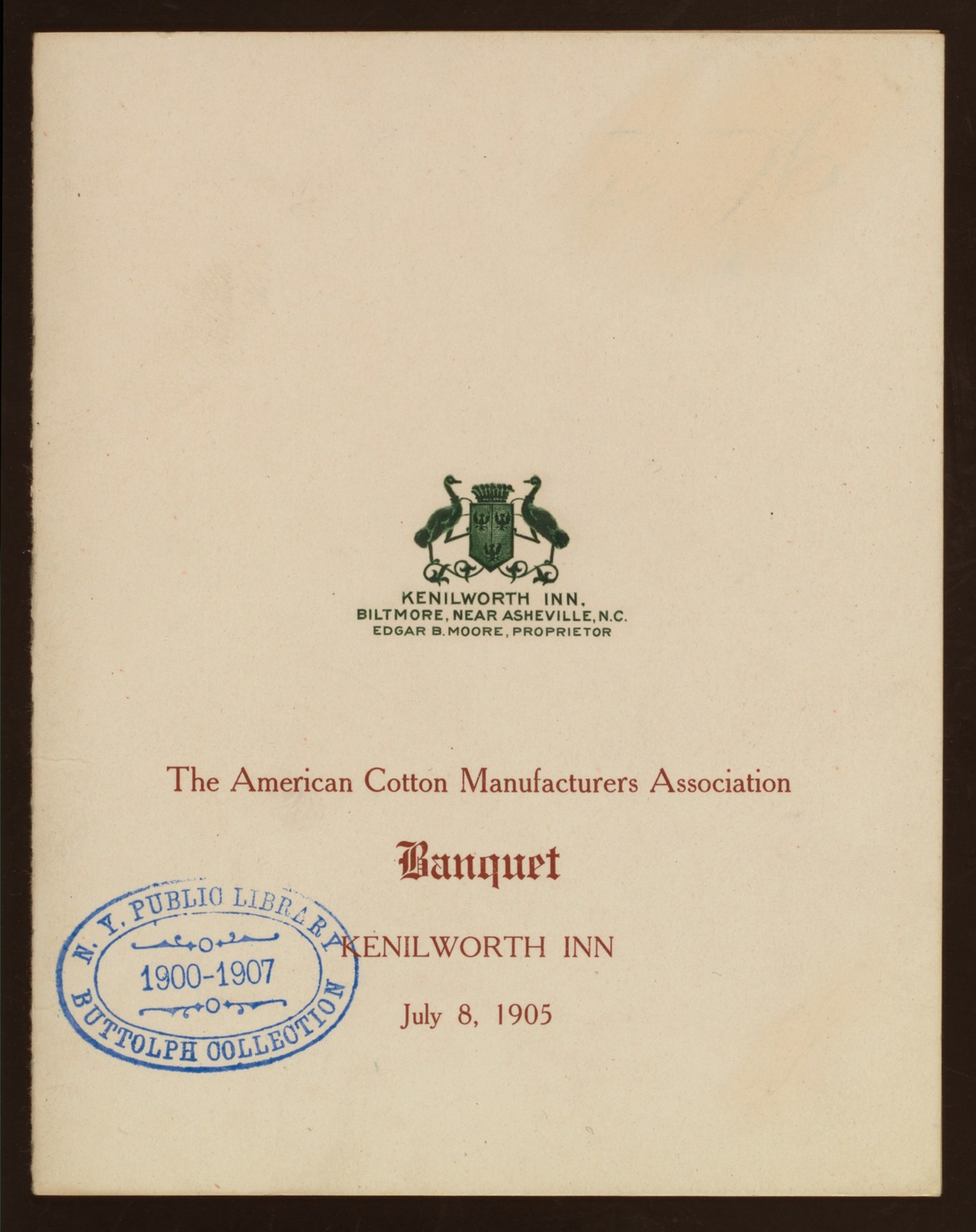 "BANQUET [held by] AMERICAN COTTON MANUFACTURERS ASOCIATION [at] ""KENILWORTH INN, N.C."" (HOTEL;)"