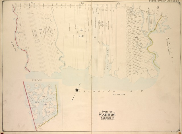 Brooklyn, Vol. 4, Double Page Plate No. 28; Part of Ward 26; Sections 14; [Map bounded by Vandalia Ave., Approximate boundary line Brooklyn & Queens; Including Spring Creek, Jamaica Bay, Fresh First Creek]; Sub Plan; [Map bounded by Boundary line between the boroughs of Brooklyn & Queens, Boundary line of the boroughs of Brooklyn & Queens, Boundary line between Wards 26 & 32]