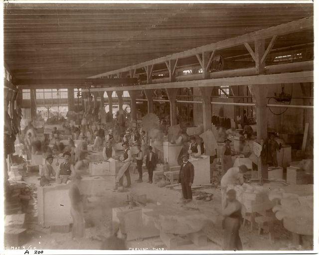 Carving shop, [Port Morris marble yard].