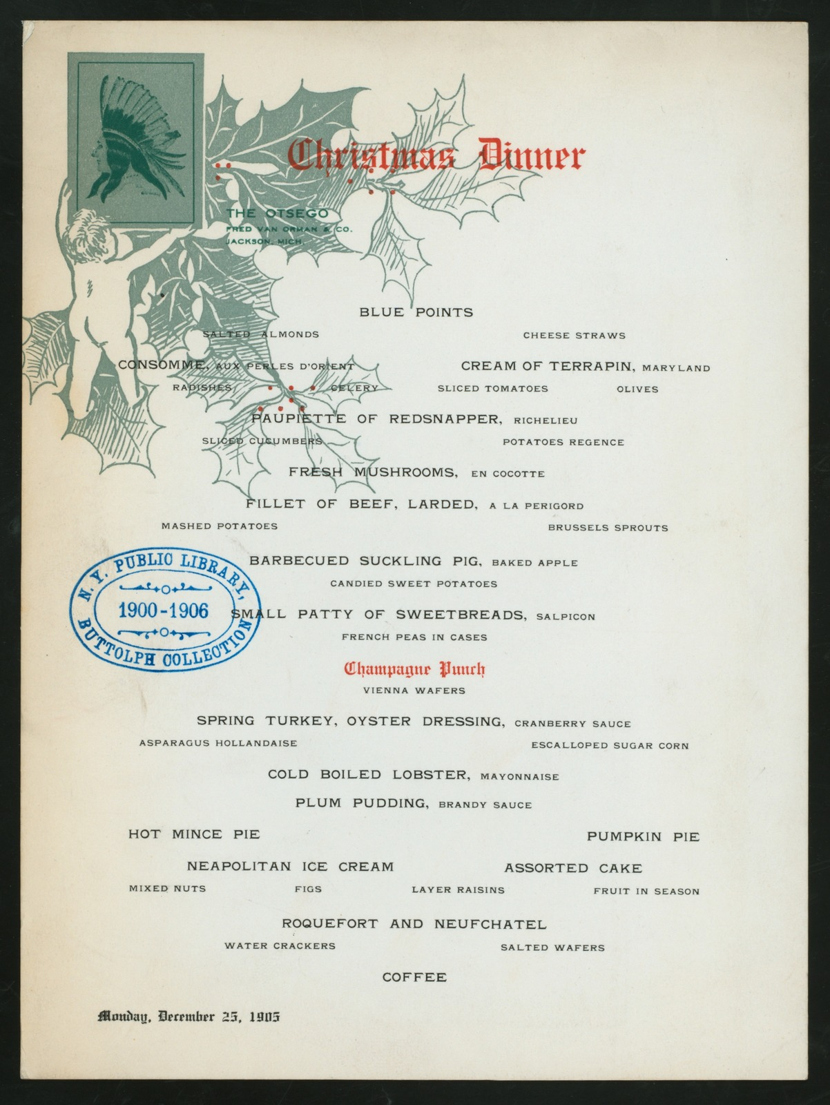 """CHRISTMAS DINNER [held by] THE OTSEGO [at] """"JACKSON, MI"""" (HOTEL;)"""