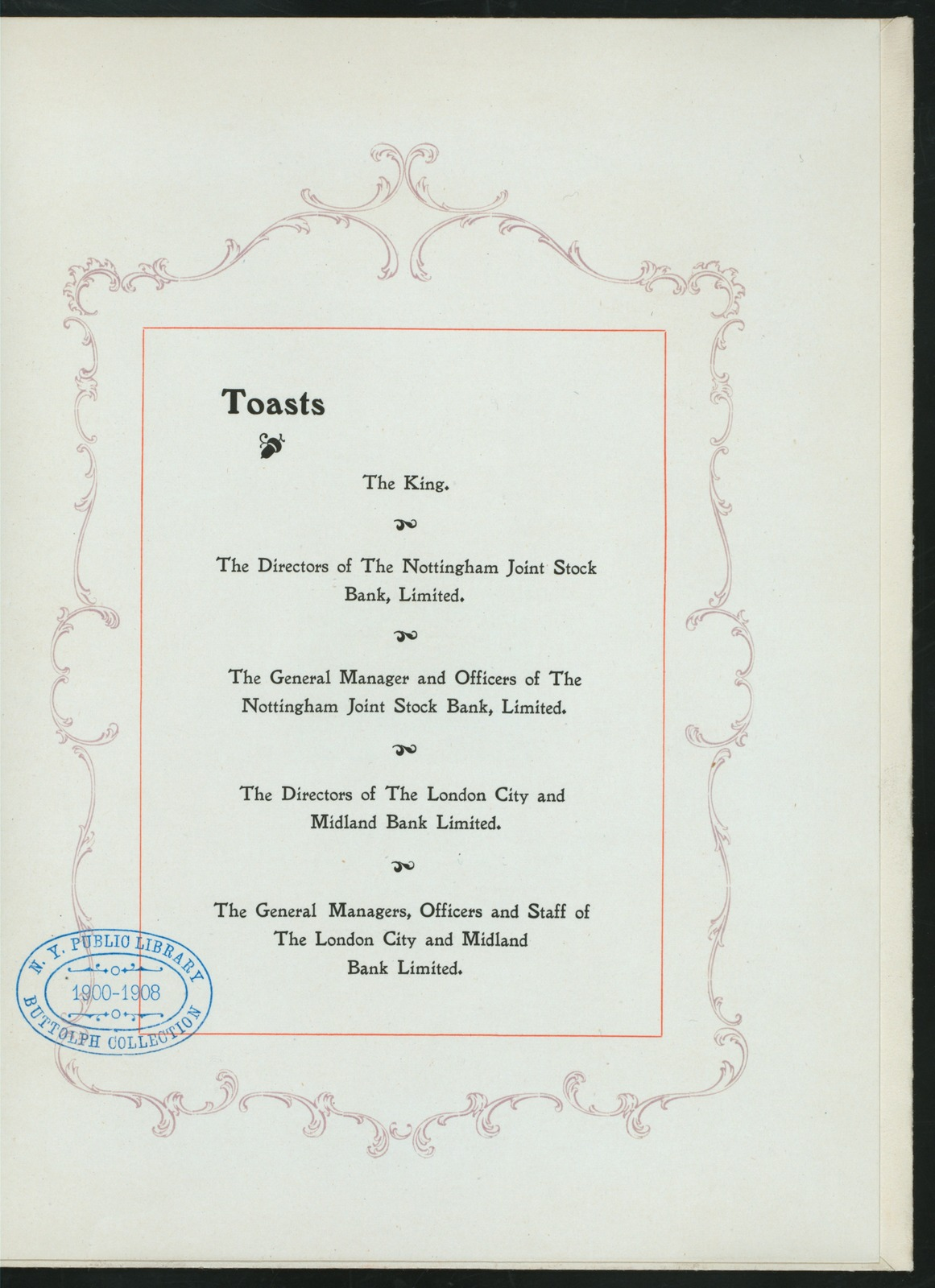"DINNER ON THE OCCASION OF THE AMALGAMATION OF ABOVE [held by] NOTTINGHAM JOINT STOCK BANK LIMITED AND LONDON CITY AND MIDLAND BANK LIMITED [at] ""VICTORIA STATION HOTEL, NOTTINGHAM, ENGLAND"" (FOR;)"