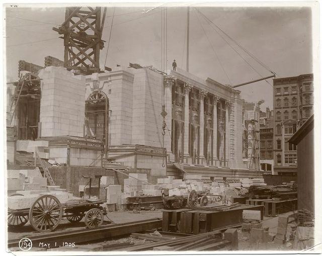 Exterior marble work : construction of the Fifth Avenue facade.