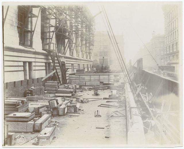Exterior marble work : Fortieth Street facade, with a Steinway and Sons truck at far right.