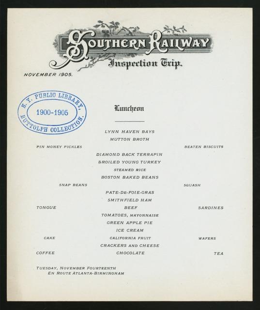 INSPECTION TRIP, LUNCHEON; [held by] SOUTHERN RAILWAY INSPECTION TRIP [at] EN ROUTE ATLANTA - BIRMINGHAM (RR;)