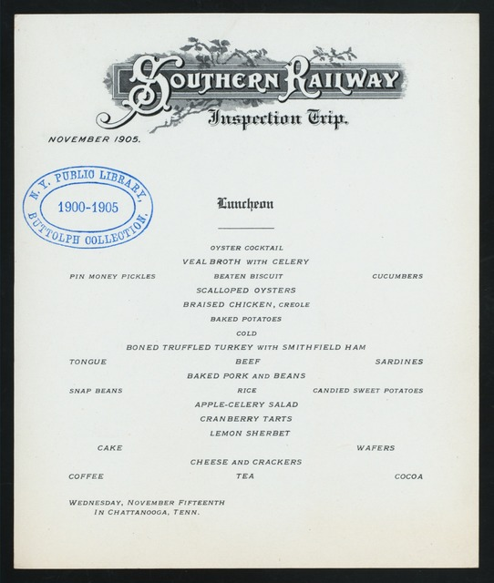 """INSPECTION TRIP, LUNCHRON [held by] SOUTHERN RAILWAY INSPECTION TRIP [at] """"CHATTANOOGA, TN"""" (RR;)"""