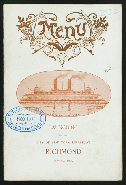 LAUNCHING OF FERRYBOAT RICHMOND [held by] NEW YORK CITY [at] [NEW YORK CIY]