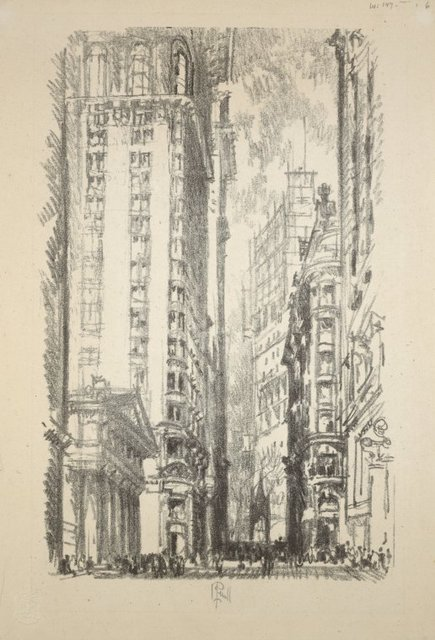 Lithographs of New York in 1904. Pine Street